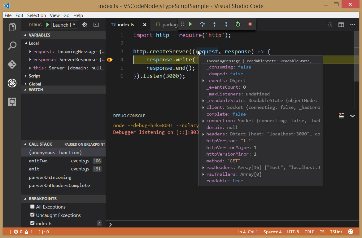 Visual Studio Code: Node js with TypeScript and Debugging