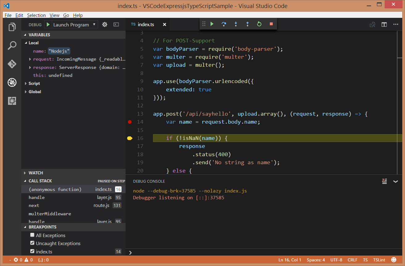 Debug the post request with Visual Studio Code